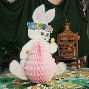 Vintage Easter bunny with accordion Easter egg.